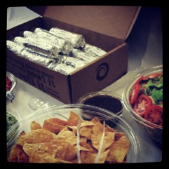 Boloco catered the workshop, bringing lots of vegetarian and vegan options to the group.