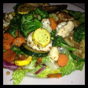 Garlicky, peppery vegetables such as eggplant, squash, cauliflower, and broccoli were a filling main course.b