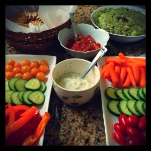 The counter was packed with healthy, fresh appetizers - my father's housemade guacamole with handmade salsa, as well as my crudite platter featuring vegetables from my summer salad. Fat free ranch dip, at only 30 calories per tablespoon, is a light alternative to the typical creamy dip.