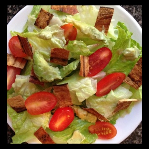 My interpretation of the Nom Yourself Storybook Salad, with avocado and fresh torn romaine lettuce.