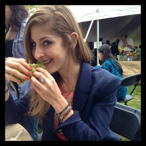 The great thing about having Heather with me at the Grand Tasting was having my best friend there to share delicious, comforting food with. The worst thing? Letting her snag cheesy foodie shots of me attacking my vegan banh mi.