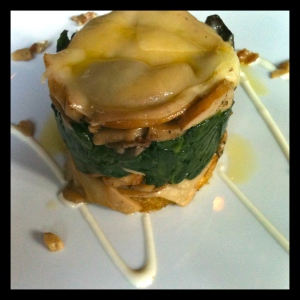Seasonal Funghi Timbale with Organic Baby Spinach and Imported Fontina - $14